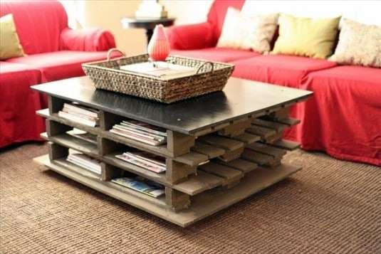 Table Basse Palette Avec Pleins De Rangements