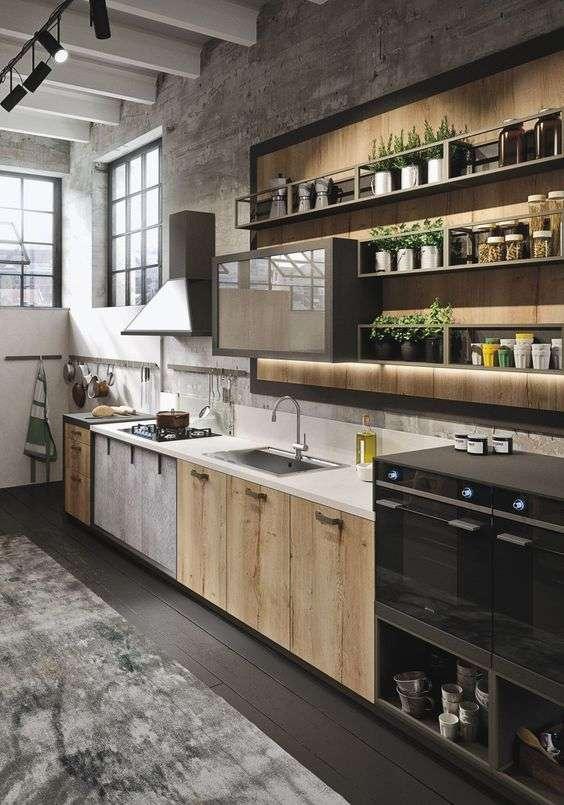 Cuisine de loft avec étagères