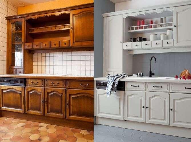 Peinture meuble cuisine bois blanc super d co for Meuble haut cuisine bois