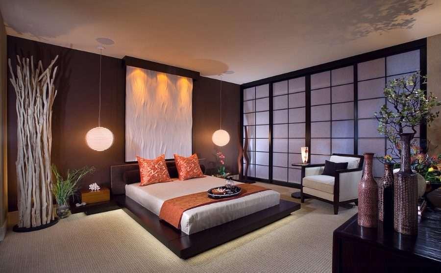 Panneaux japonais dans une chambre