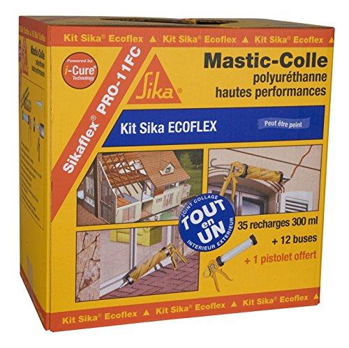 Kit Sika Ecoflex - Mastic-colle tout en 1 à prise rapide et multi applications -SNJF - 300ml - Blanc