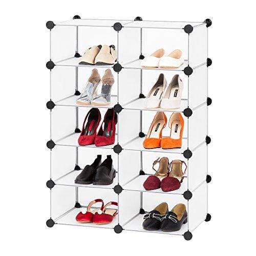 LANGRIA Meuble Rangement à Chaussures avec 10 Cubes DIY, Cabinet de Stockage Modulaire en Plastique, Multiusage, Organisateur Modulable, sans Panneaux de Porte, Blanc Translucide