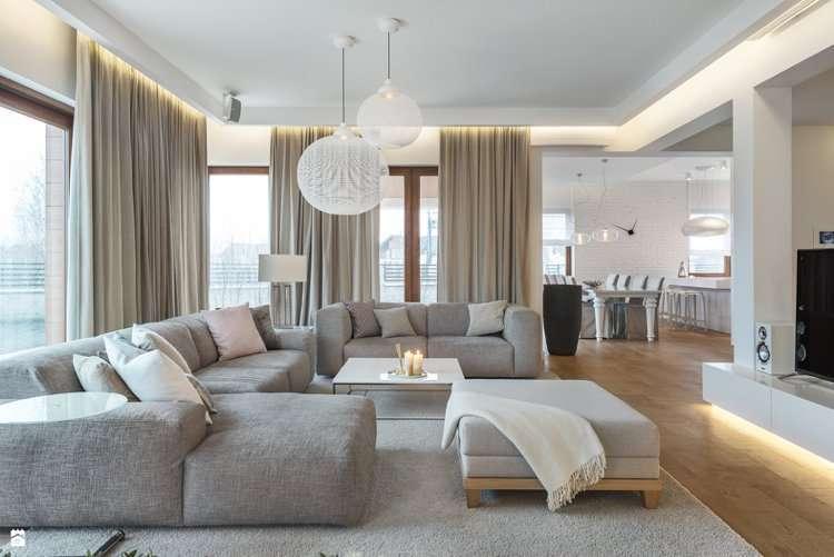 Grand canapé d'angle gris panoramique