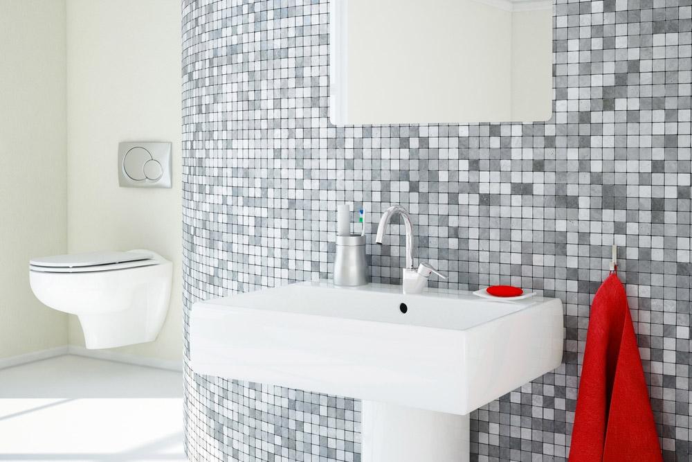 WC suspendu dans une salle de bain classique
