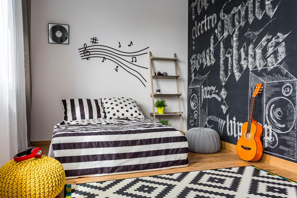 Chambre d'ado noir et blanc