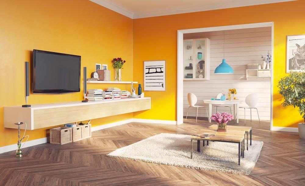 Salon peint en orange