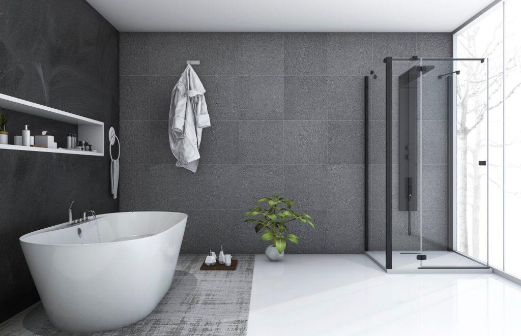 Salle de bain de luxe avec carrelage